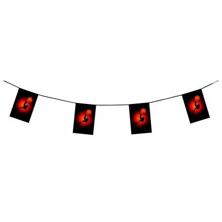 Witch Halloween bunting 15ft/4,50m flame resistant paper flag banner and garland