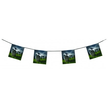 Cemetery R.I.P. Halloween bunting 15ft/4,50m flame retardant party room decorating