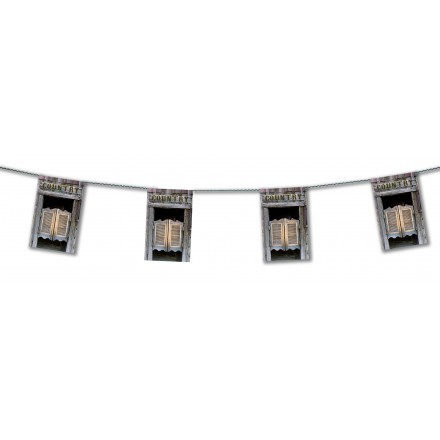 western saloon bunting 4,50m far west themed party banner