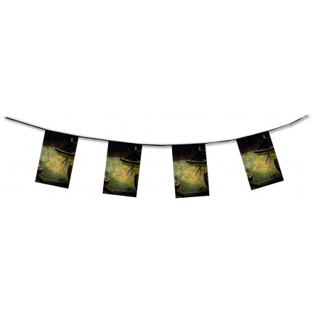 pirate map bunting 4,50m flame resistant paper banner and garland