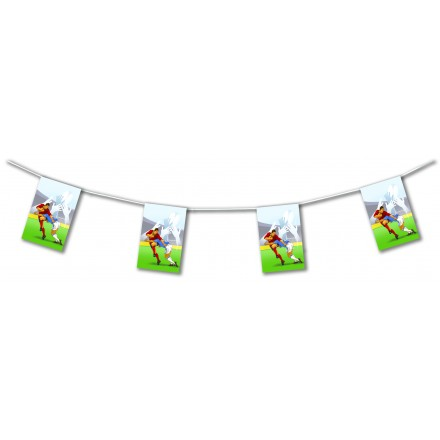 Rugby bunting 15ft/4,50m long flameproof paper banner and garland