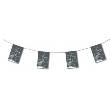 Grey wedding bunting 4,50m party banner decoration