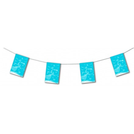 Turquoise Blue wedding bunting 4,50m banner flags and garland