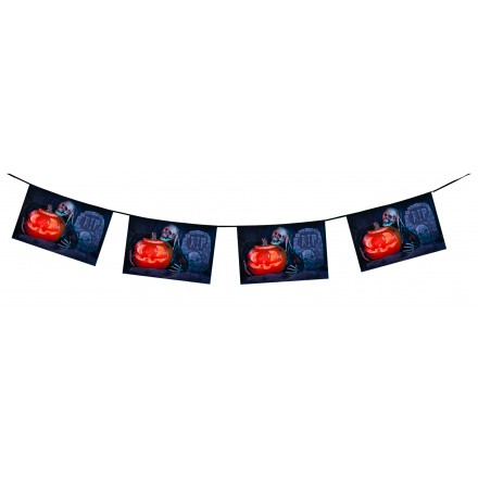 R.I.P. Skull halloween bunting 4,50m flag banner and garland flameproof paper