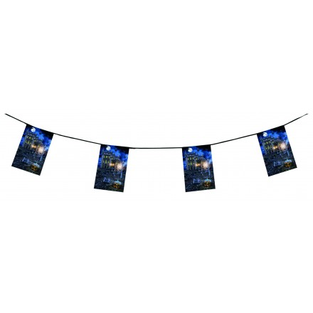 Haunted house halloween bunting 15ft/4,50m flameproof paper party decorating