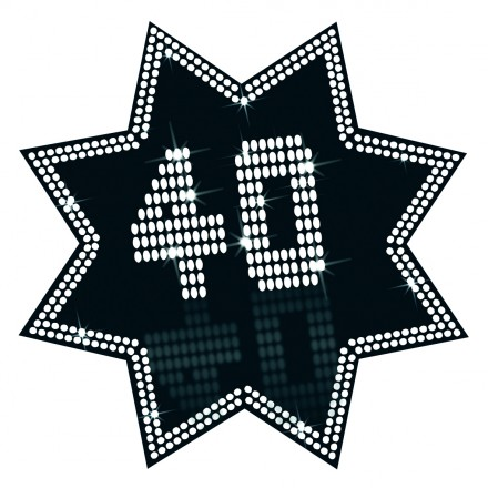 Star Cutout 40 VIP 34cm Cheap 40th Birthday Decoration Black And White