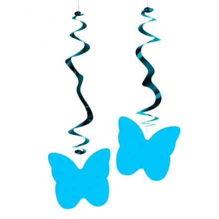 Copalt blue butterflies hanging swirl decorations ( Pack of 6 ) wedding decoration