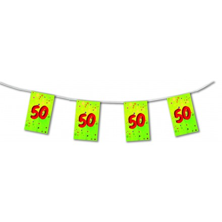50th birthday bunting 4,50m (15ft) paper party room decorating