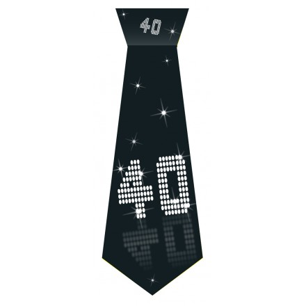 40th Birthday tie black and white party accessory