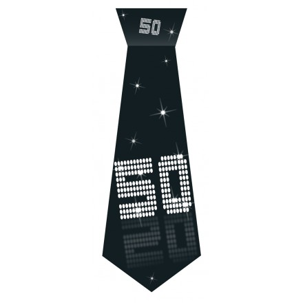 50th Birthday tie black and white party accessory