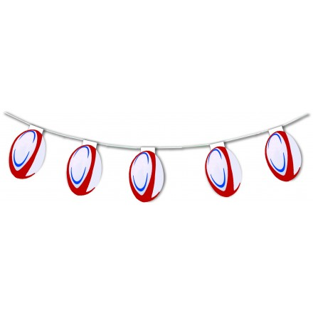 rugby ball bunting 17ft/5m lengths flame retardant paper party decoration
