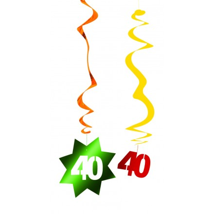 40th Birthday Hanging Swirl Decoration Flame Retardant Foil Party Supplies