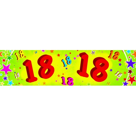 18th birthday banner 0,16 x 2,44m party supplied