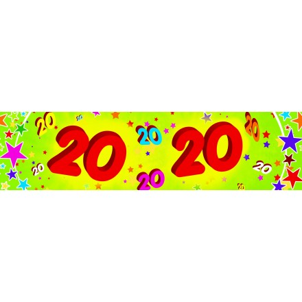 20th birthday banner 0,16x2,44m paper party supplies