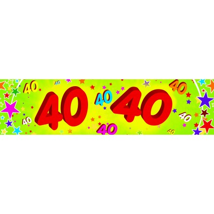 40th birthday banner 0,16x2,44m paper party decoration