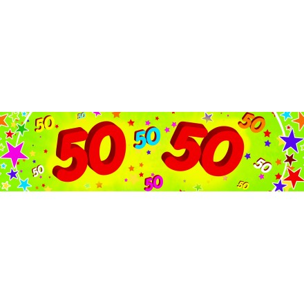 50th birthday banner 0,16x2,44m paper party decoration