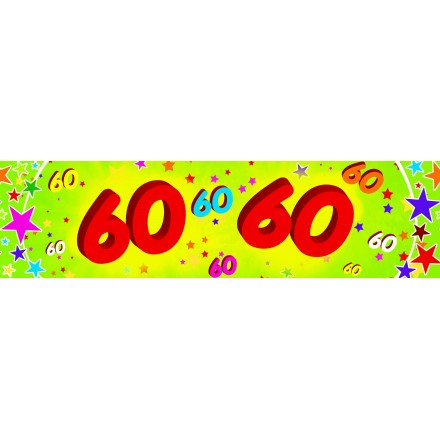 60th birthday banner 0,16x 2,44m paper party decoration