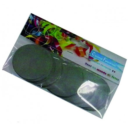 circle 55mm foil silver confetti 50g flame retardant metallic