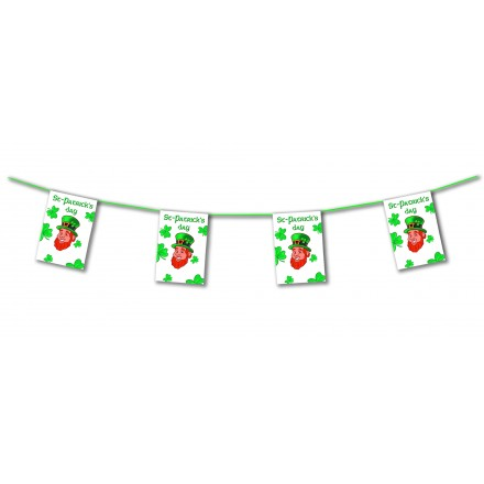 St Patrick's day bunting 4,50m shamrock and leprechaun