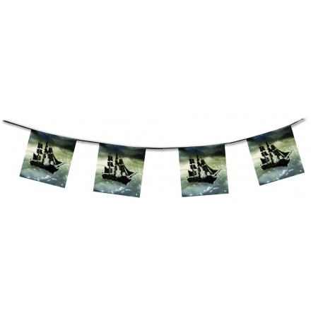 Pirate ship Bunting 4,50m flame retardant paper banner and garland