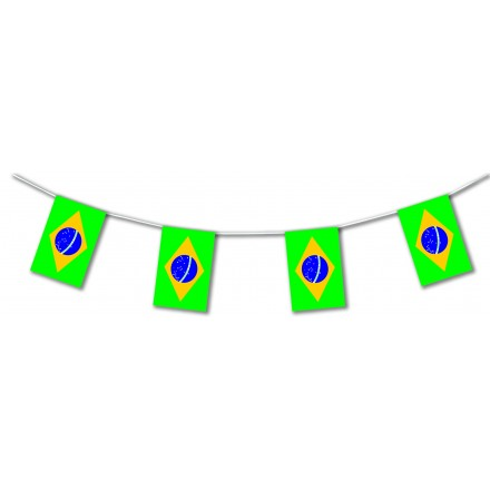 Brazil plastic flag bunting, Lengths: 17ft / 5m Brazilian banner party decoration