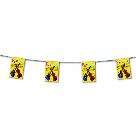 Music bunting 4,50m guitar and music notes party decoration flame retardant paper banner flags