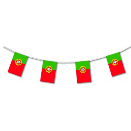 Portugal plastic flag bunting, Lengths: 17ft / 5m banner and garland