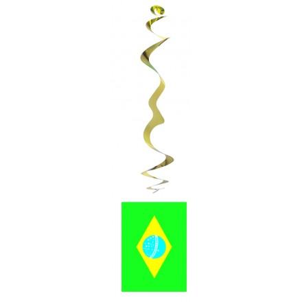 Brazilian flag hanging swirl decoration