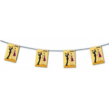Jazz paper bunting 15ft/4,50m long flame resistant music party decoration