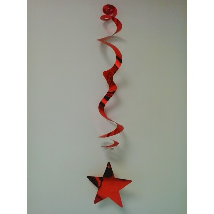 Pack of 6 red stars hanging decorations