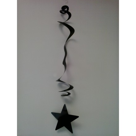 Pack of 6 black stars hanging decorations