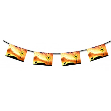 Kangaroo bunting 15ft/4,50m lengths flameproof paper banner Autralia day party decoration idea