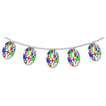 Multinations rugby ball bunting 17ft/5m  flame resistant paper banner party room decorating