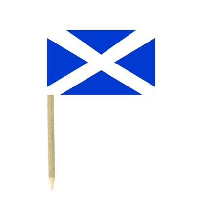 Scottish cocktail flag picks - pack of 50 St Andrew food wood stick party decoration