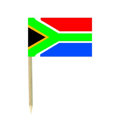 South Africa flag picks - pack of 50 food wood sticks party decoration