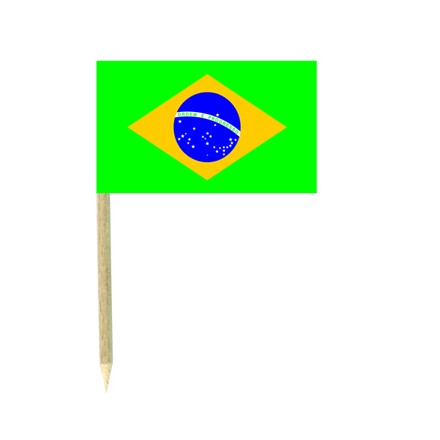Brazil flag picks - pack of 50 food wood sticks party decoration