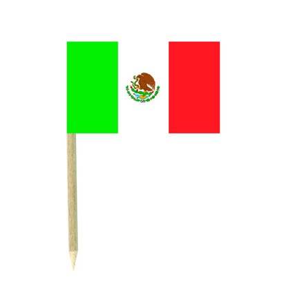 Mexico flag picks - pack of 50 food wood sticks Mexican party decoration