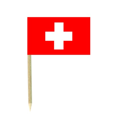 Switzerland cocktail flag picks - pack of 50 food wood sticks party decoration