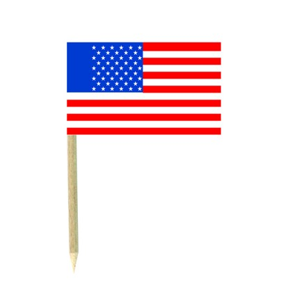 USA flag picks - pack of 50 American cocktail food wood sticks party decoration