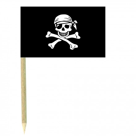 Pirate cocktail flag picks - pack of 10 food wood sticks party decoration
