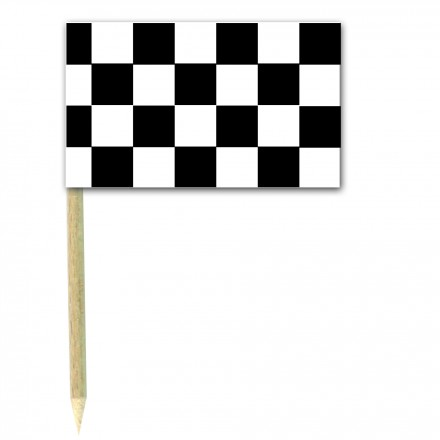 Chequered cocktail flag picks - pack of 50 black and white food wood sticks party supplies