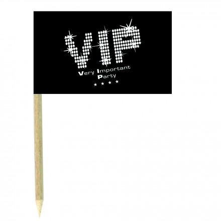 Very Important Party cocktail flag picks pack of 10 black and white food wood sticks