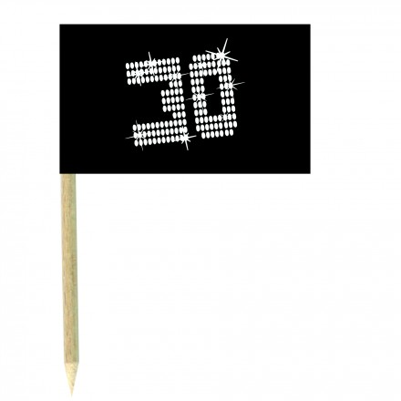 VIP 30th birthday cocktail flag picks - pack of 10 black and white food wood sticks
