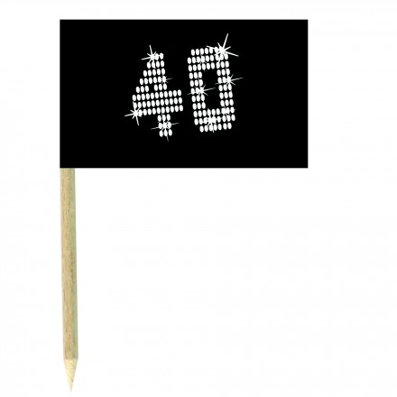 VIP 40th birthday cocktail flag picks - pack of 10 black and white food wood sticks