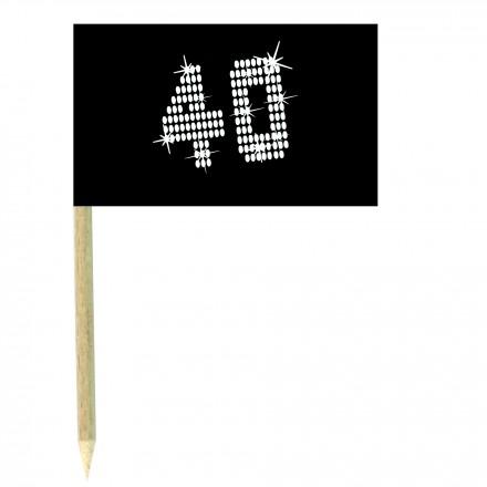 VIP 40th birthday cocktail flag picks - pack of 10