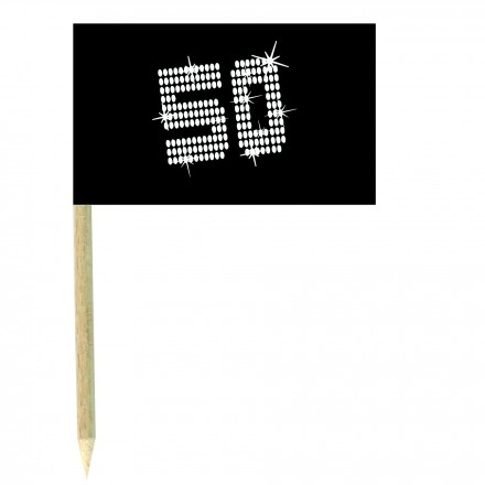 VIP 50th birthday cocktail flag picks - pack of 10black and white food wood sticks
