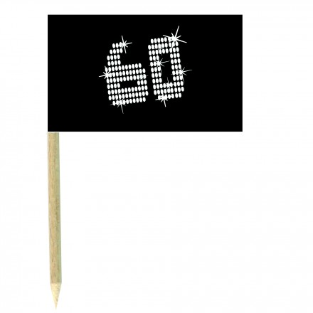 VIP 60th birthday cocktail flag picks - pack of 10black and white food wood sticks