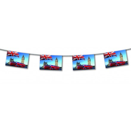 London Bus flag bunting 15ft/4,50m lengths