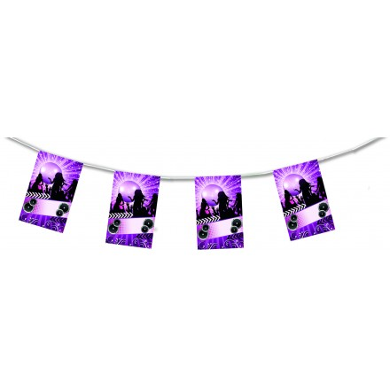 Disco Night Club flag bunting 15ft/4,50m lengths flame resistant paper party decoration