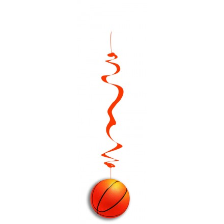 Basketball hanging swirl decoration pack of 6